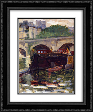 Barges 20x24 Black or Gold Ornate Framed and Double Matted Art Print by Henri Edmond Cross