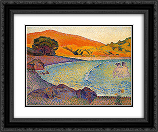 Bathers 24x20 Black or Gold Ornate Framed and Double Matted Art Print by Henri Edmond Cross