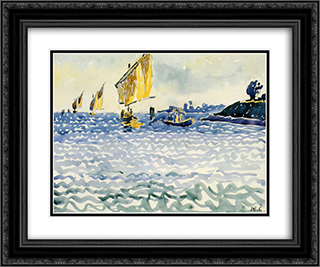 Boats 24x20 Black or Gold Ornate Framed and Double Matted Art Print by Henri Edmond Cross