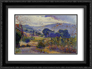 Cabasson Landscape (study) 24x18 Black or Gold Ornate Framed and Double Matted Art Print by Henri Edmond Cross