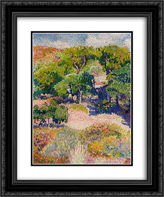 Cypresses 20x24 Black or Gold Ornate Framed and Double Matted Art Print by Henri Edmond Cross