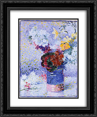 Flowers in a Glass 20x24 Black or Gold Ornate Framed and Double Matted Art Print by Henri Edmond Cross