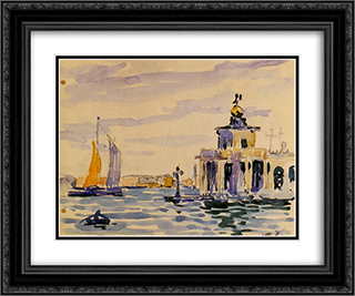 La Dogana 24x20 Black or Gold Ornate Framed and Double Matted Art Print by Henri Edmond Cross