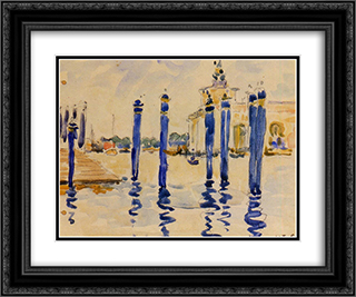 La Donana, Venice 24x20 Black or Gold Ornate Framed and Double Matted Art Print by Henri Edmond Cross