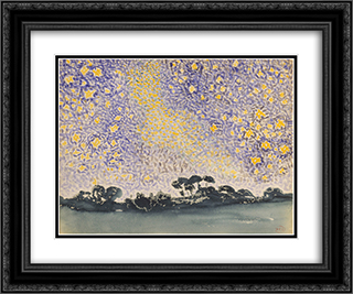 Landscape with Stars 24x20 Black or Gold Ornate Framed and Double Matted Art Print by Henri Edmond Cross