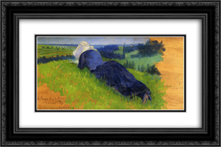 Peasant Woman Stretched out on the Grass 24x16 Black or Gold Ornate Framed and Double Matted Art Print by Henri Edmond Cross
