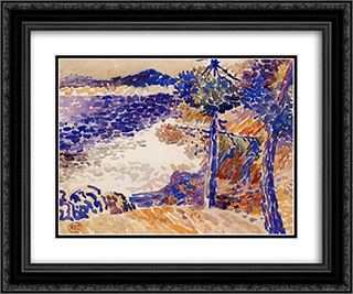 Pines by the Sea 24x20 Black or Gold Ornate Framed and Double Matted Art Print by Henri Edmond Cross