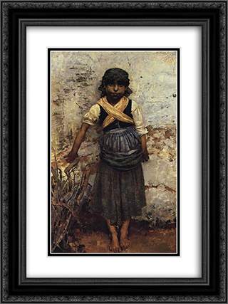 Cansada 18x24 Black or Gold Ornate Framed and Double Matted Art Print by Henrique Pousao