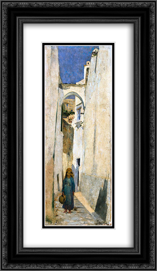Rua de Capri 14x24 Black or Gold Ornate Framed and Double Matted Art Print by Henrique Pousao