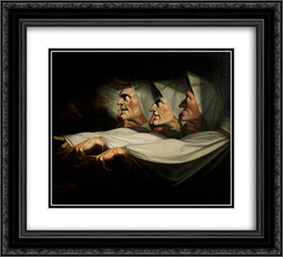 Macbeth', Act I, Scene 3, the Weird Sisters 22x20 Black or Gold Ornate Framed and Double Matted Art Print by Henry Fuseli