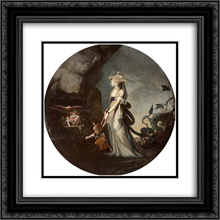 Mamillius Conjuring up Sprites and Goblins for His Mother, Hermione 20x20 Black or Gold Ornate Framed and Double Matted Art Print by Henry Fuseli