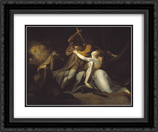 Percival Delivering Belisane from the Enchantment of Urma 24x20 Black or Gold Ornate Framed and Double Matted Art Print by Henry Fuseli
