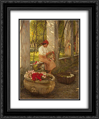 A Ligurian Flower Girl 20x24 Black or Gold Ornate Framed and Double Matted Art Print by Henry Herbert La Thangue
