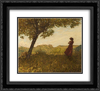 A Ligurian Shepherdess 22x20 Black or Gold Ornate Framed and Double Matted Art Print by Henry Herbert La Thangue