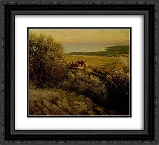 A Provencal Castle 22x20 Black or Gold Ornate Framed and Double Matted Art Print by Henry Herbert La Thangue