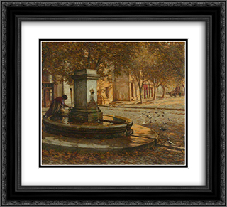 A Provencal Fountain 22x20 Black or Gold Ornate Framed and Double Matted Art Print by Henry Herbert La Thangue