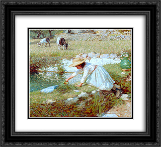 A Provencal Stream 22x20 Black or Gold Ornate Framed and Double Matted Art Print by Henry Herbert La Thangue