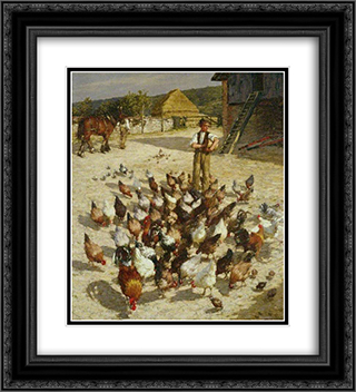 A Sussex Farm 20x22 Black or Gold Ornate Framed and Double Matted Art Print by Henry Herbert La Thangue