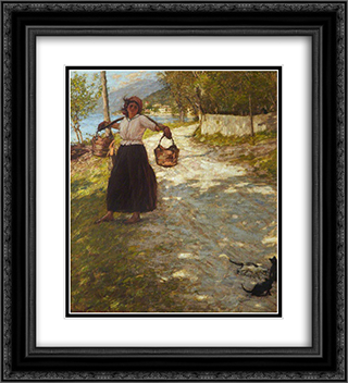 A Veronese Road 20x22 Black or Gold Ornate Framed and Double Matted Art Print by Henry Herbert La Thangue