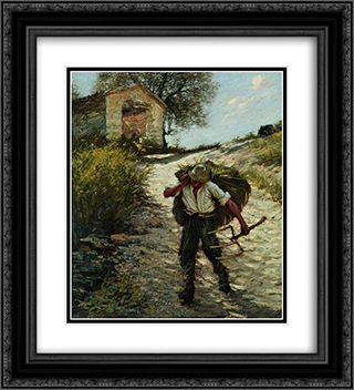 Ancient Provencal Road 20x22 Black or Gold Ornate Framed and Double Matted Art Print by Henry Herbert La Thangue