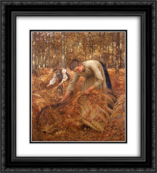 Gathering Bracken 20x22 Black or Gold Ornate Framed and Double Matted Art Print by Henry Herbert La Thangue