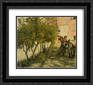 Gathering Oranges 22x20 Black or Gold Ornate Framed and Double Matted Art Print by Henry Herbert La Thangue