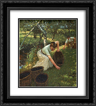 Gathering Plums 20x22 Black or Gold Ornate Framed and Double Matted Art Print by Henry Herbert La Thangue