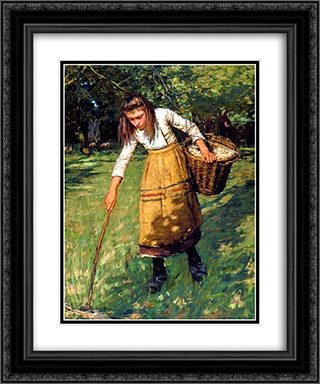 Gathering Wool 20x24 Black or Gold Ornate Framed and Double Matted Art Print by Henry Herbert La Thangue