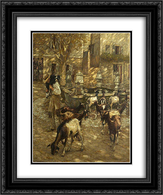 Goats at a Fountain 20x24 Black or Gold Ornate Framed and Double Matted Art Print by Henry Herbert La Thangue