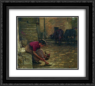 Going out with the Cows 22x20 Black or Gold Ornate Framed and Double Matted Art Print by Henry Herbert La Thangue