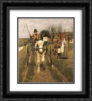 Leaving Home 20x22 Black or Gold Ornate Framed and Double Matted Art Print by Henry Herbert La Thangue