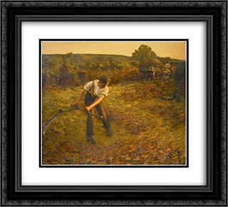 Mowing Bracken 22x20 Black or Gold Ornate Framed and Double Matted Art Print by Henry Herbert La Thangue