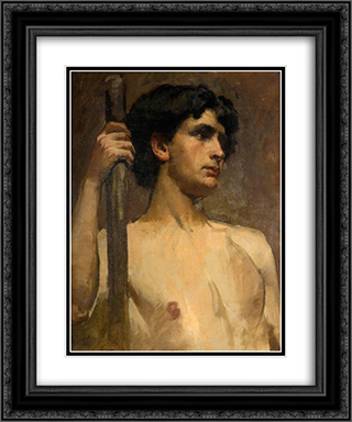Nude Study 20x24 Black or Gold Ornate Framed and Double Matted Art Print by Henry Herbert La Thangue