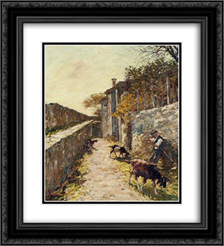 On the Ramparts 20x22 Black or Gold Ornate Framed and Double Matted Art Print by Henry Herbert La Thangue