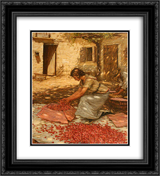 Packing Cherries in Provence, France 20x22 Black or Gold Ornate Framed and Double Matted Art Print by Henry Herbert La Thangue