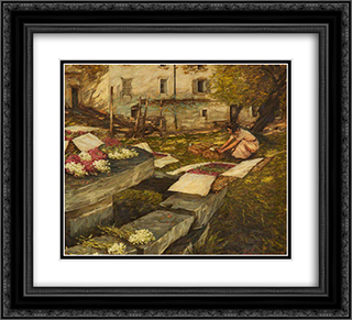 Packing Stocks 22x20 Black or Gold Ornate Framed and Double Matted Art Print by Henry Herbert La Thangue