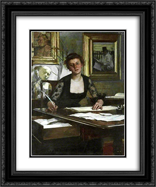 Portrait of the Artist's Wife 20x24 Black or Gold Ornate Framed and Double Matted Art Print by Henry Herbert La Thangue
