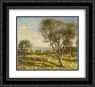 Roman Campagna 22x20 Black or Gold Ornate Framed and Double Matted Art Print by Henry Herbert La Thangue
