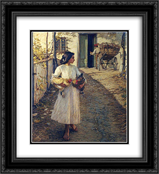 Selling Chickens in Liguria 20x22 Black or Gold Ornate Framed and Double Matted Art Print by Henry Herbert La Thangue