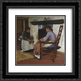 Some Poor People 20x20 Black or Gold Ornate Framed and Double Matted Art Print by Henry Herbert La Thangue