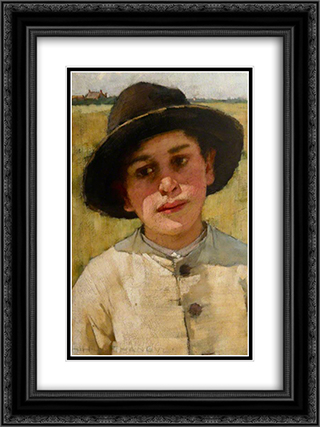 Study of a Boy in a Black Hat, before a Cornfield 18x24 Black or Gold Ornate Framed and Double Matted Art Print by Henry Herbert La Thangue