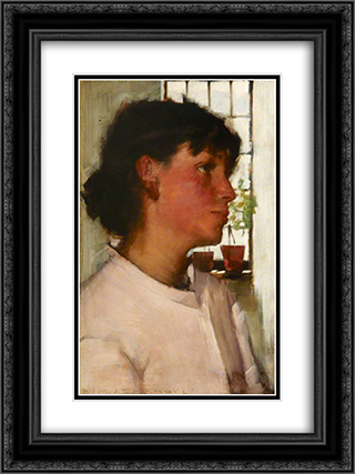 Study of the Bust of a Young Cornishwoman, with a Window behind 18x24 Black or Gold Ornate Framed and Double Matted Art Print by Henry Herbert La Thangue