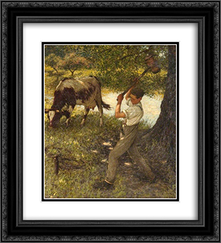 Stumping the Cow 20x22 Black or Gold Ornate Framed and Double Matted Art Print by Henry Herbert La Thangue