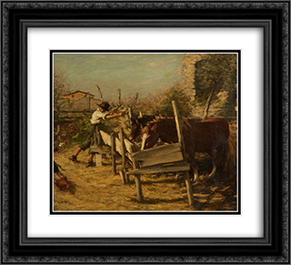 The Appian Way 22x20 Black or Gold Ornate Framed and Double Matted Art Print by Henry Herbert La Thangue