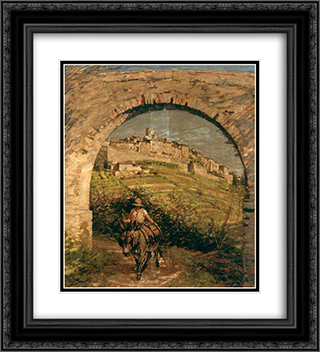 The Aqueduct 20x22 Black or Gold Ornate Framed and Double Matted Art Print by Henry Herbert La Thangue