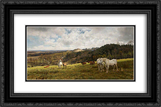 A Gleamy Day in Picardy 24x16 Black or Gold Ornate Framed and Double Matted Art Print by Henry William Banks Davis