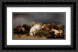 A Panic 24x16 Black or Gold Ornate Framed and Double Matted Art Print by Henry William Banks Davis