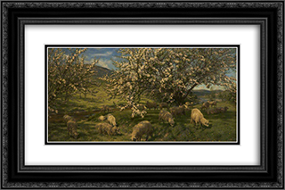 Apple Blossoms in the Upper Wye 24x16 Black or Gold Ornate Framed and Double Matted Art Print by Henry William Banks Davis
