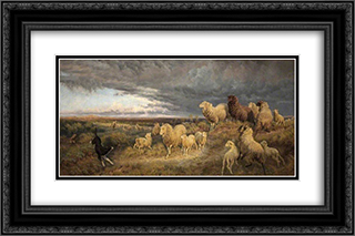 Approaching Thunderstorm, Flocks Driven Home, Picardy, France 24x16 Black or Gold Ornate Framed and Double Matted Art Print by Henry William Banks Davis