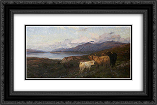 Cattle in a Highland Loch 24x16 Black or Gold Ornate Framed and Double Matted Art Print by Henry William Banks Davis